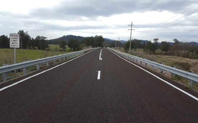 Gresford Road Bridge Over Glendon Brook Completed Pavement Linemarking And Signage Works